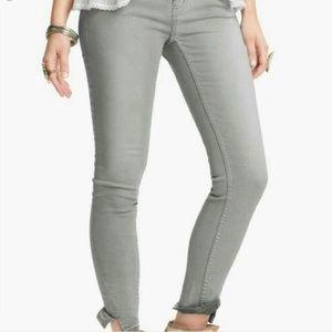FREE PEOPLE Gray Herringbone Crop Skinny Jeans